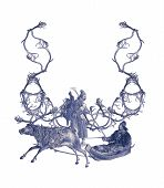 Luxuriously illustrated old capital letter U made from deer antlers and two hunters. poster