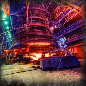 metallurgical blast furnaces iron production industrial background poster