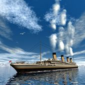 Famous Titanic ship floating among icebergs on the water by cloudy day - 3D render poster