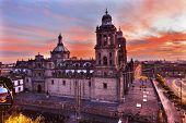 Metropolitan Cathedral and President's Palace in Zocalo Center of Mexico City Mexico Sunrise poster
