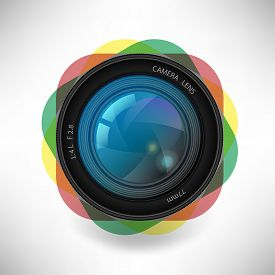 Vector Illustration Of A Single Detailed Camera Icon Isolated On Soft Background