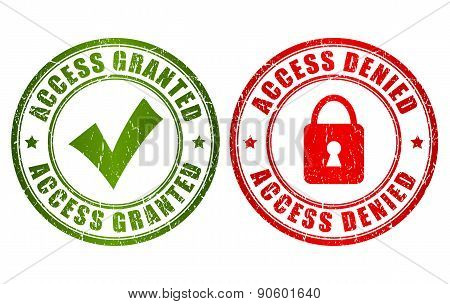 Access granted denied stamp