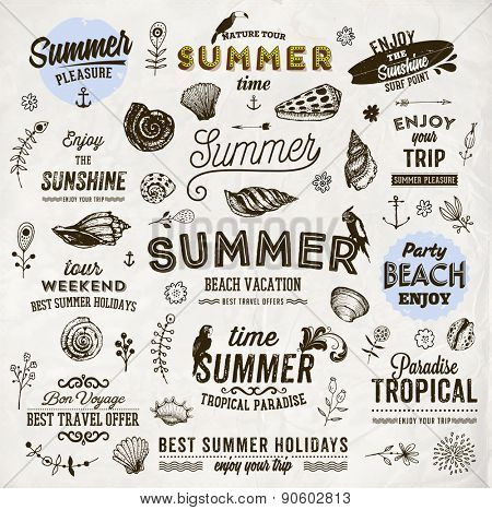 Set of Summer Elements: Calligraphic Labels, Seashells, Flowers, Anchors. Hand Drawn Style. Typographic Design for Logo or Label. Summer Holidays. Tropical Paradise, Best Tour, Beach Party, Bon Voyage