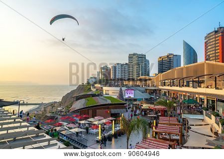 Paraglider In Lima, Peru
