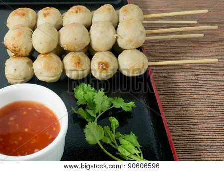 Delicious Barbecue Meat Ball With Sweet Spicy Sauce