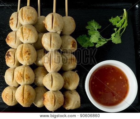 Grilled Meat Ball With Sweet Spicy Sauce
