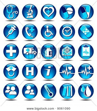 25 Glossy Medical Icons