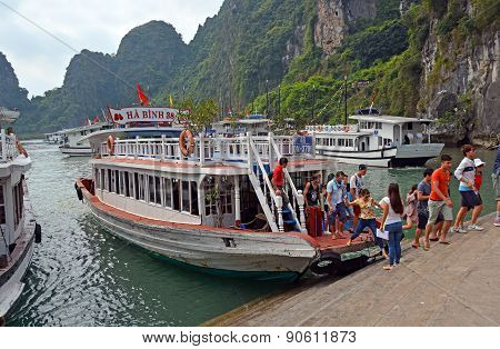 Tourists Going To See The Caves On Halong Bay, Vietnam.
