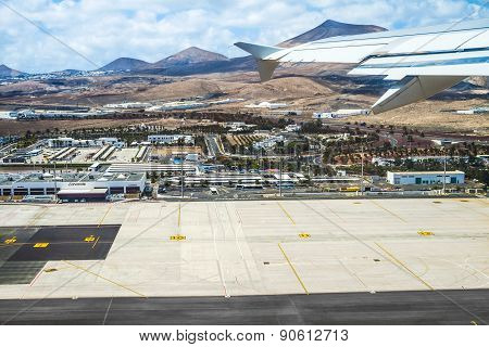Aerial Of Airport Of Lanzarote