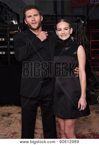 LOS ANGELES - APR 06:  Scott Eastwood & Britt Robertson arrives to the