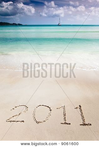 2011 Write In The Sand Of A Tropical Beach