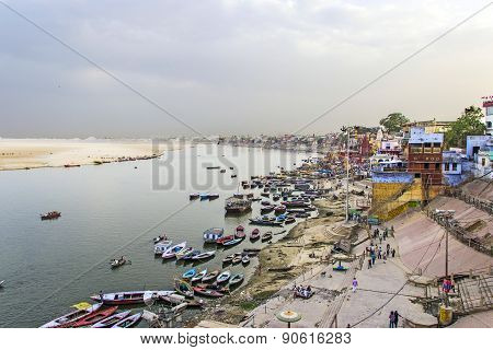 Colorful Main Ghat In Varanasi With Boats