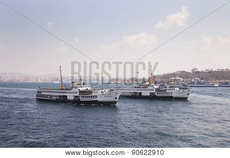Istanbul, Turkey - March 29, 2014: Istanbul ferries are moving in The Marmara Sea i n Istanbul.