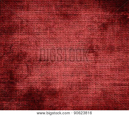 Grunge background of auburn burlap texture