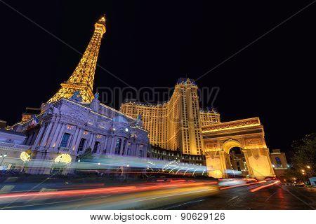 Las Vegas, NV - CIRCA MARCH 2015 - Night scene along The Strip in Las Vegas Nevada, circa March 2015
