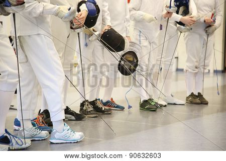 Fencer With Fencing Mask And Rapier