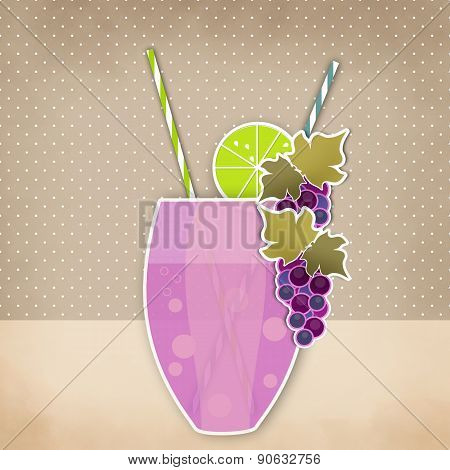 Cocktail Grape Background. Glass Of Drink With Tubule. Retro Illustration