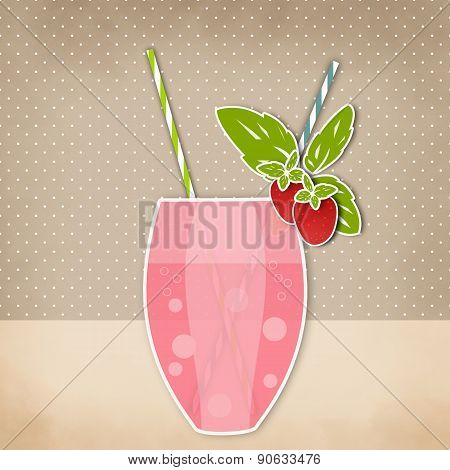 Cocktail Strawberry Background For Menu
