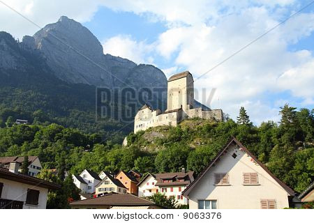 Sargans castle in Sarganserland region of canton St. Gallen. Alps in Switzerland. poster