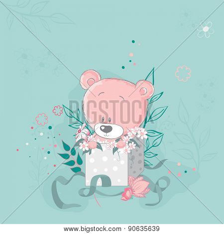 Pink cute bear in a gift box.