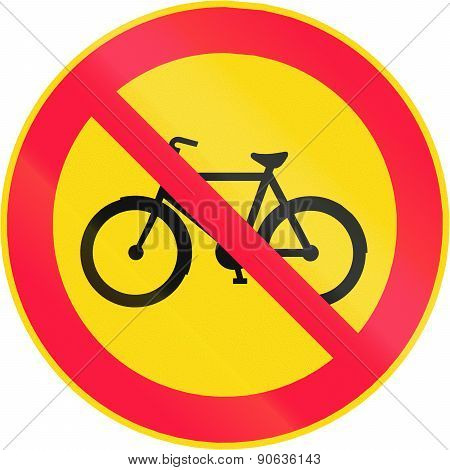 Road sign 322 in Finland - No bicyclists poster