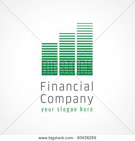 Financial companies brand logo. Downtown buildings in chart architectural shape green colored.
