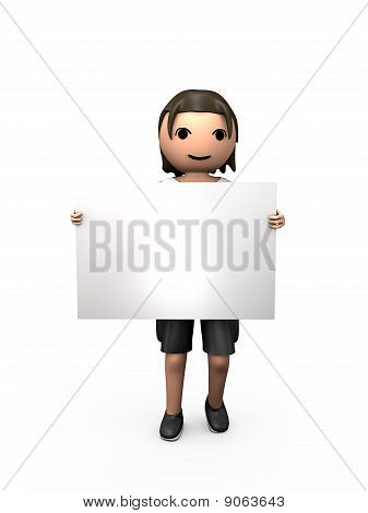 3D Young Male Holding Clear Business Card