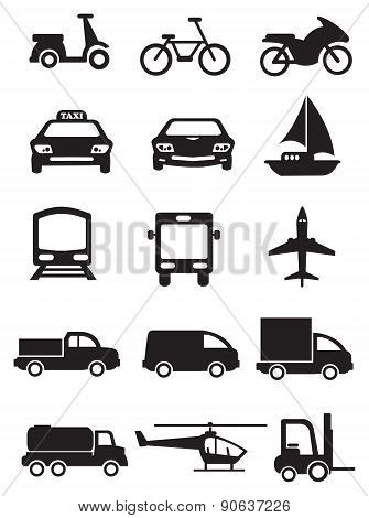 Mode Of Transportation And Vehicles Vector Icon Set