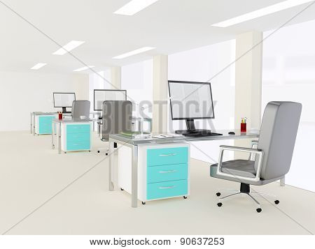 Interior of a bright white modern minimalist office interior with three identical workstations with turquoise highlights on the cabinets attached to the desks with desktop computers poster