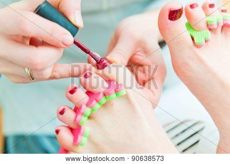 Pedicure in process