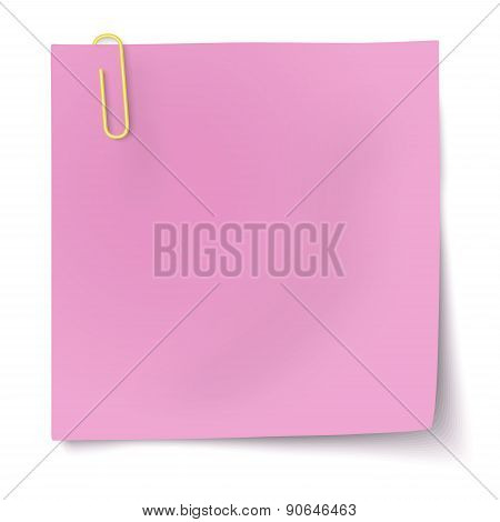 Rosy Sticky Note With Yellow Paper Clip Isolated On White Background