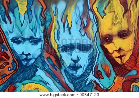 Distorted Faces Flames Graffiti