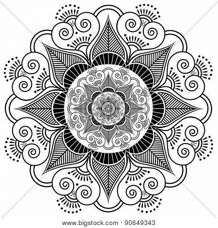 Indian Henna Tatto Flower Pattern