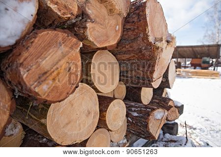 Wooden timber at a sawmill