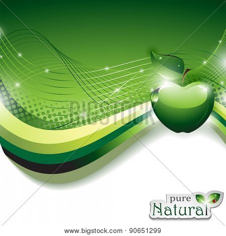 Vector Natural Abstract Background with Shiny Apple
