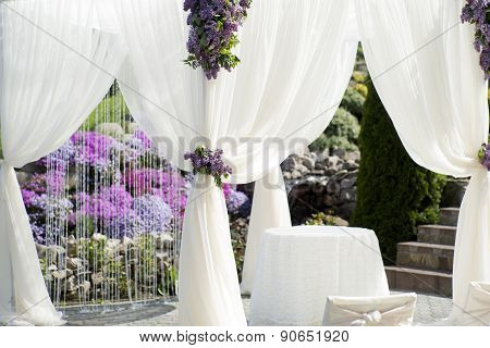 Festive Wedding Decoration Of White Fabric Closeup
