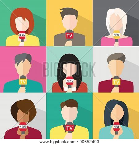 Journalism concept vector - journalists reporters holding microphones. Live news template. Live broadcast world news poster