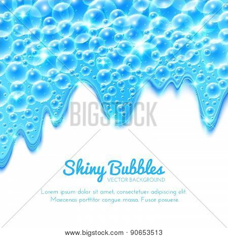 Shining Water Background With Bubbles