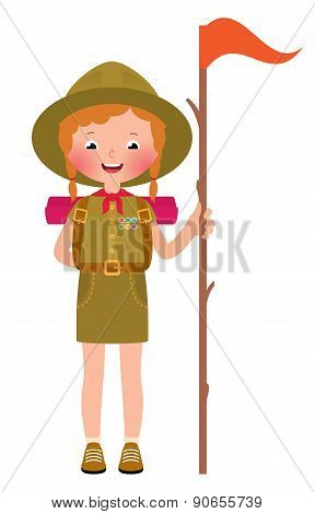 Vector Illustration Of A Smiling Child Girl Scout