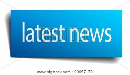 Latest News Blue Paper Sign Isolated On White