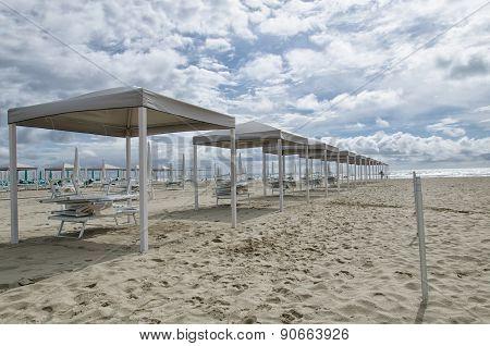 Slew Of Gazebo On The Beach