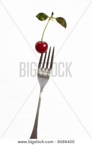 Cherry on fork