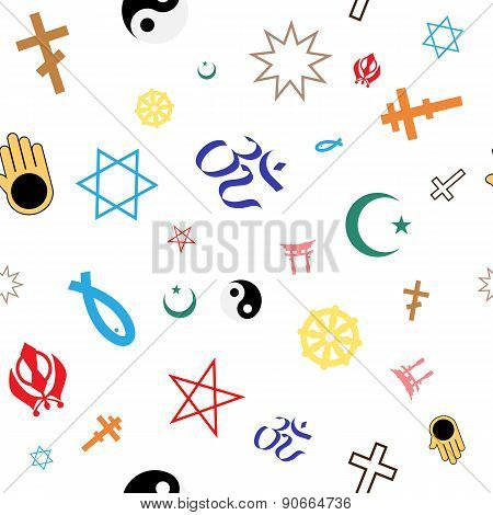 Seamless Pattern Of Colored Religious Symbols