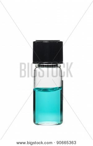 Vial with colored solution, isolated on white background poster