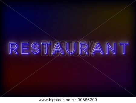Colorful Glowing Neon Lights Restaurant. Restaurant neon sign, design for your business.