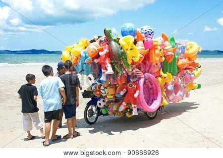 Toys shop on the beach in Eastern Thailand.