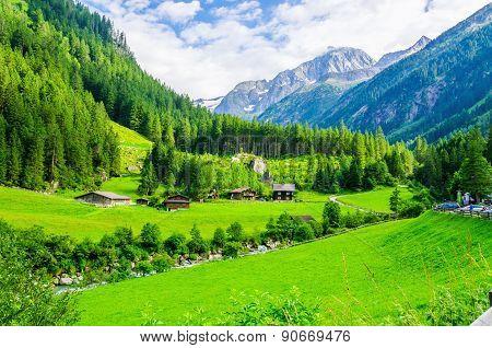 Alpine landscape with green meadows, Alps, Austria