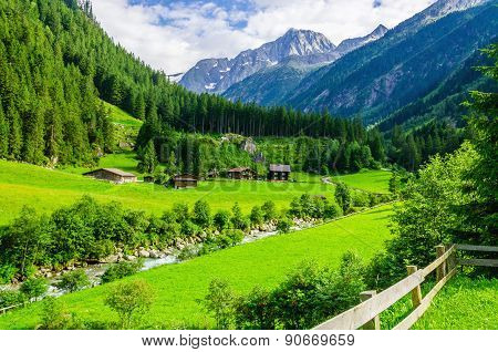 Green meadows and Alpine cottages, Austria