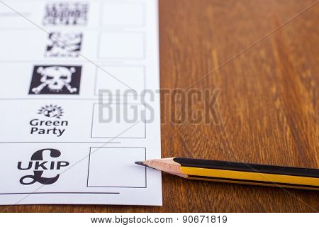 Ukip On A Ballot Paper For The General Election