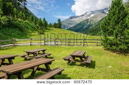 Wooden tables and benches, Austria